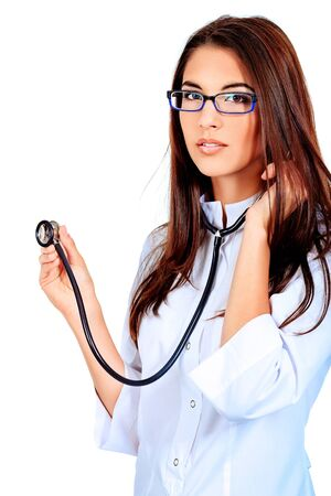 Portrait of a beautiful woman doctor. Isolated over white background. Stock Photo - 12959007