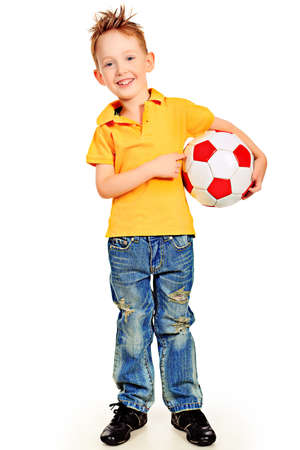 boy ball: Portrait of a little boy with a ball. Isolated over white background.