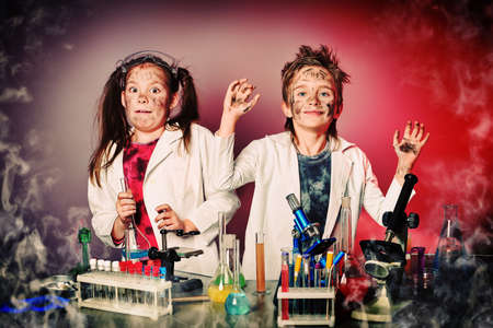Two children making science experiments  Education  photo