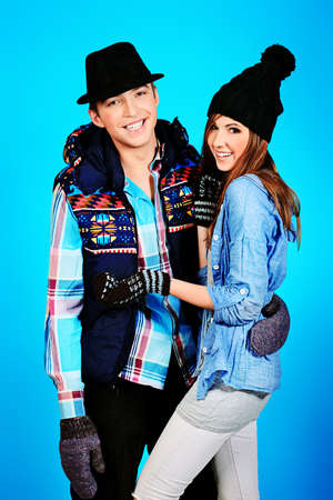 Portrait of a happy young couple in warm clothes. photo