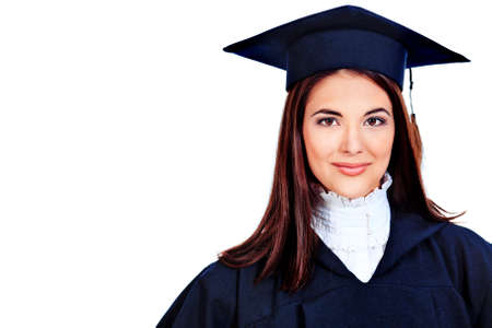 master degree: Educational theme: graduating student girl in an academic gown. Isolated over white background.