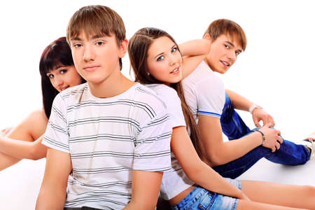 Group of happy young people isolated over white background. Stock Photo - 13562665