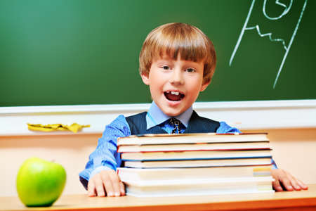 Portrait of a shouting schoolboy in a classroom. Stock Photo - 14321556
