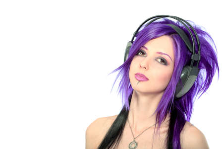 emo: Portrait of a punk girl in headphones. Isolated over white background.