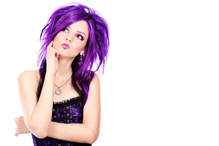 punk rock: Portrait of a punk girl. Isolated over white background. Stock Photo