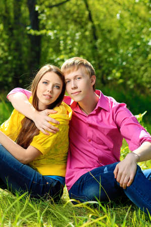 Beautiful young couple spending a time together outdoor. photo