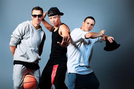Group of modern dancers dancing hip-hop at studio. Stock Photo - 14551463
