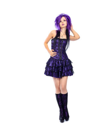 goth girl: Portrait of a punk girl. Isolated over white background. Stock Photo