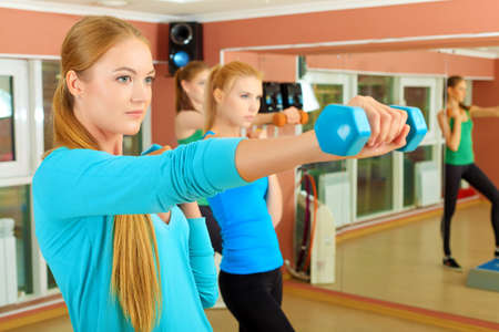 Group of young women in the gym centre. Pilates class. Stock Photo - 14730908