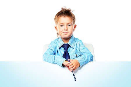 Portrait of a little boy in shirt and tie holding white board. Isolated over white background. Stock Photo - 14748153