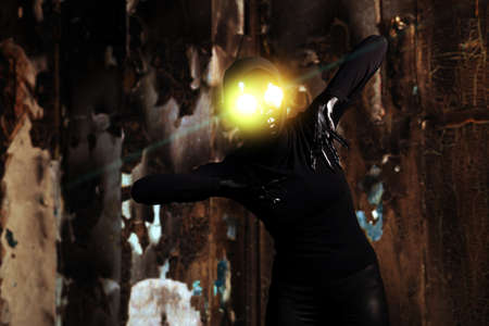 Scary alien creature in an abandoned house. Halloween, horror. Stock Photo - 14800636