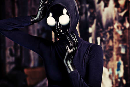 Scary alien creature in an abandoned house. Halloween, horror. Stock Photo - 14954346