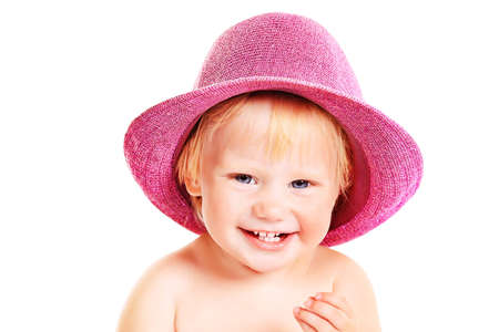 Portrait of a lovely baby girl in a hat. Isolated over white background. Stock Photo - 15007539