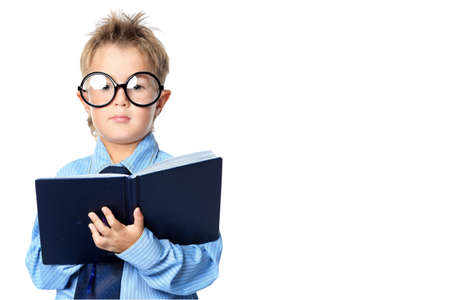 Little boy in spectacles and suit standing with a diary. Isolated over white background. Stock Photo - 15068759