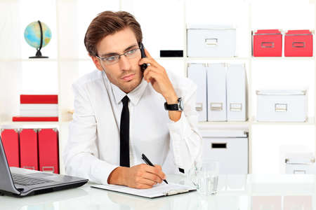Handsome businessman appelle sur son téléphone portable au bureau. Banque d'images - 15333133