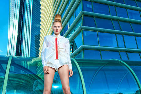 Fashion model posing over big city background. Stock Photo - 15323949