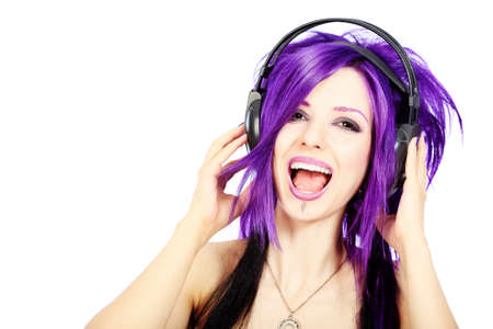 beautiful anime: Portrait of a punk girl in headphones. Isolated over white background.