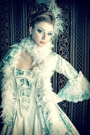 Portrait of the elegant woman in medieval era dress. Stock Photo - 15610592