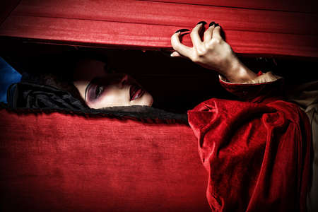 female vampire: Bloodthirsty female vampire rises from the coffin on the night cemetery.