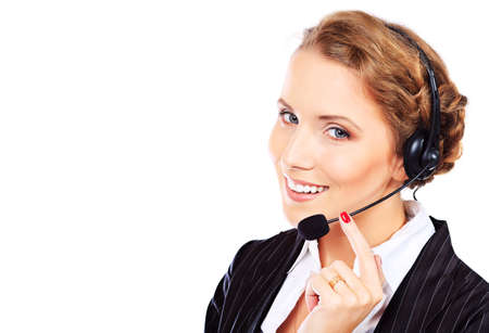 phone operator: Portrait of a happy smiling  support phone operator in headset. Isolated over white.