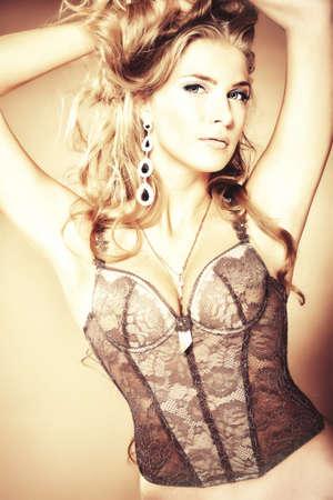 blonde underwear: Portrait of a beautiful woman. Stock Photo