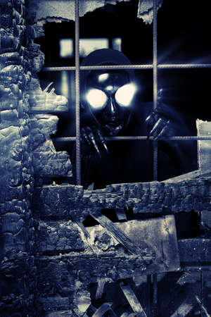 Scary alien creature in an abandoned house. Halloween, horror. Stock Photo - 15905387
