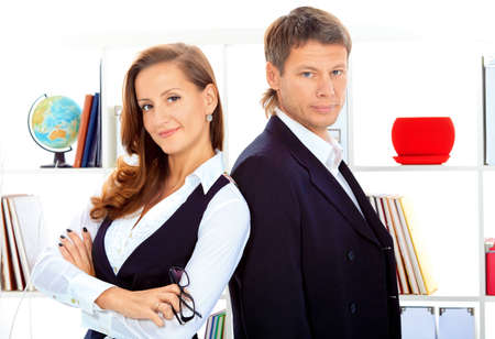 Business woman and businessman working together at the office. Stock Photo - 15963591