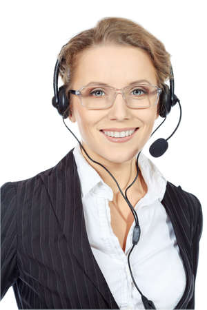 Portrait of a happy smiling  support phone operator in headset. Isolated over white. photo