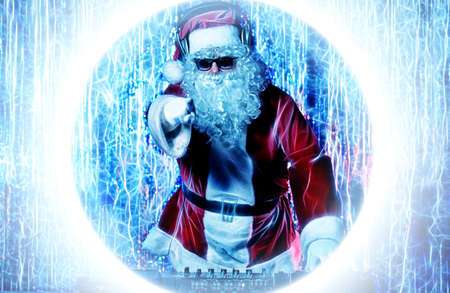 DJ Santa Claus mixing up some Christmas cheer. Disco lights in the background. Stock Photo - 16216158