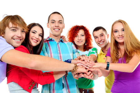 teenagers laughing: A large group of young people holding hands. Friendship. Isolated over white.
