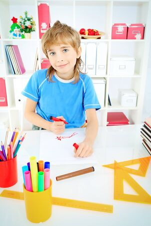 A boy doing his lessons at home. Stock Photo - 16763807