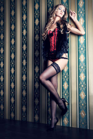 stockings heels: Full length portrait of a sexual fashionable woman over vintage background.
