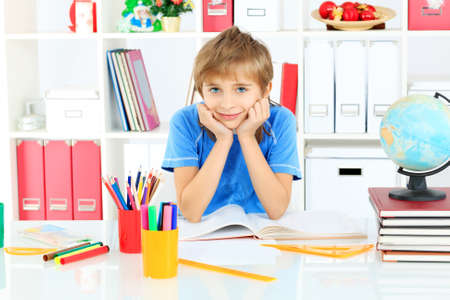 A boy doing his lessons at home. Stock Photo - 17283839