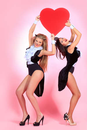 Two sexy playgirls in costumes of pussycat and a mouse alluring with red heart over pink background. photo