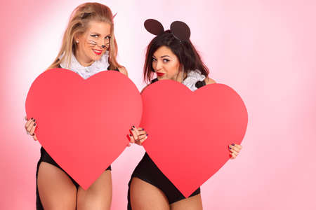 Two sexy playgirls in costumes of pussycat and a mouse alluring with red hearts over pink background. photo
