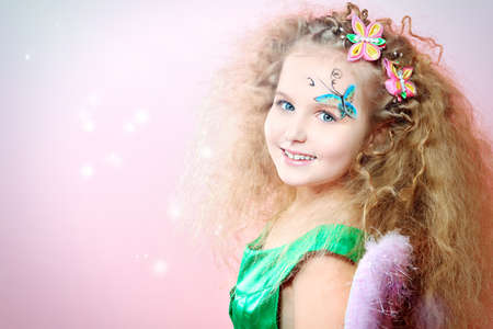 fairy princess: Beautiful little fairy over pink background.