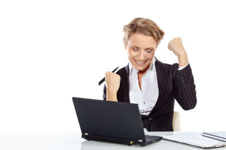 experienced: Portrait of a modern businesswoman happy of her success. Isolated over white.
