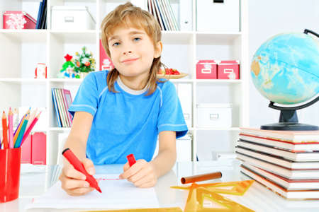 A boy doing his lessons at home. Stock Photo - 17541678
