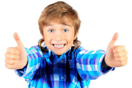 35d28e7ee788c4  17698955 - Portret van een gelukkige jongen 9 jaar. Geà ¯ soleerd op  witte achtergrond.