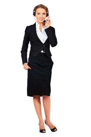 telephone headset: Full length portrait of a happy smiling  support phone operator in headset. Isolated over white.