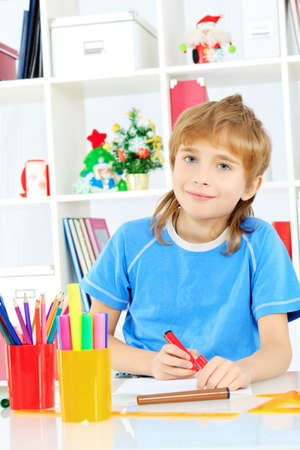 A boy doing his lessons at home. Stock Photo - 17848550