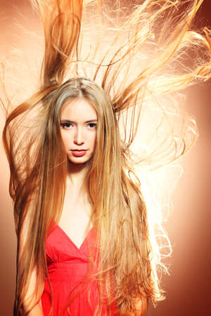 magnificent: Beautiful blonde woman with magnificent hair.