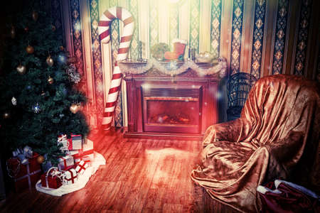 Christmas home decoration with tree, gifts and fireplace Stock Photo - 23945088
