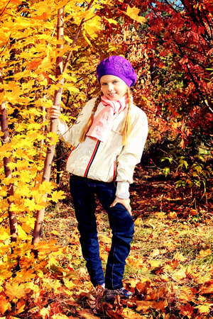 Portrait of a cute little girl posing at the autumn park. photo