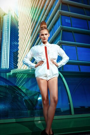 Full length portrait of a fashion model posing over big city background. Stock Photo - 18207167