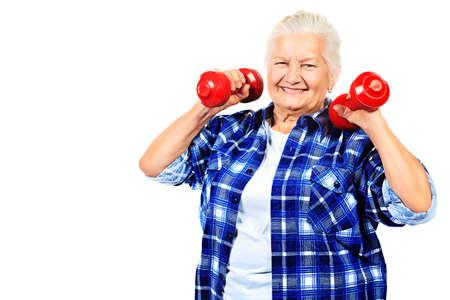 modern lifestyle: Happy grandma doing exercises with dumbbells. Isolated over white. Stock Photo