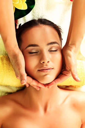 aroma therapy: Beautiful young woman taking spa treatments at the salon. Stock Photo