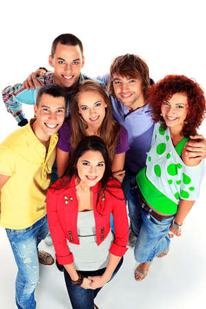 people looking up: A large group of young people standing together and looking up. Friendship. Isolated over white.
