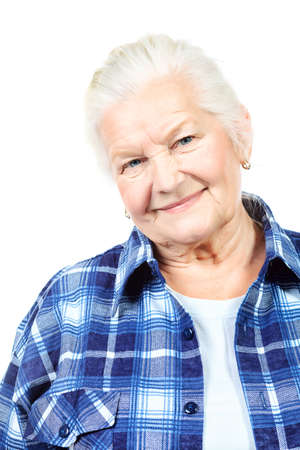 one of a kind: Happy senior woman smiling at the camera. Isolated over white.
