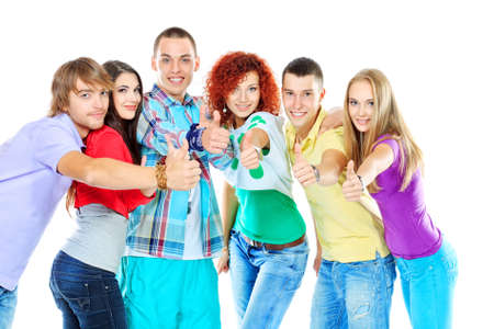 six girls: Group of happy young people standing together and showing thumbs. Friendship. Isolated over white.